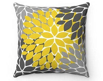 Just1457on Yellow Gray Flower Pillow Cover, Throw Pillow, Modern Home Decor, Accent Pillow, Couch Cushion, Floral Rocking Chair Nursery Pillow - PIL140