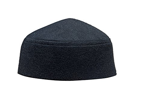 Solid Black Moroccan Fez-style Kufi Hat Cap w/ Pointed Top (L)