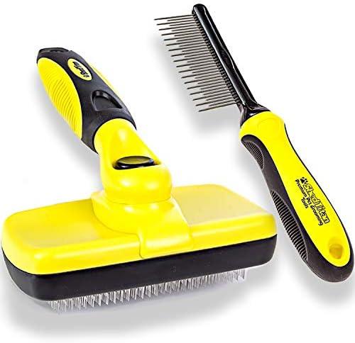ShedTitan Self Cleaning Slicker Brush Dematting Pet Comb Value Kit Easy Ideal Slicker Brush product image