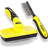 ShedTitan Self Cleaning Slicker Brush & Dematting Pet Comb Value Kit -...