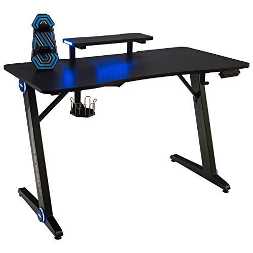 COSTWAY Gaming Tisch mit LED-Lichtern, Computertisch Z-förmig, PC Tisch mit Monitorständer, Schreibtisch für Zuhause oder Büro, mit Getränkehalter, Griffrahmen, Kopfhörerhaken