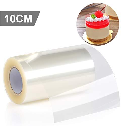 GWHOLE 1 x Tortenrandfolie Transparent Acetat Rolle 10cm x 10m für Tortendeko Schokolade Mousse Dessertringe