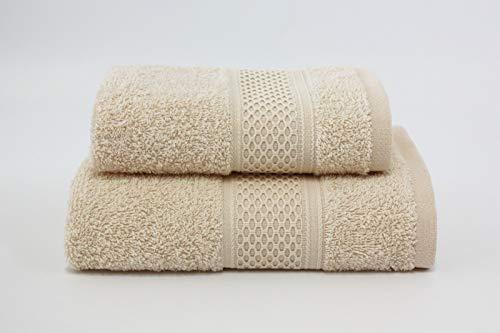 Asciugamano da bagno, Set di due asciugamani da bagno Viso e Ospite 100% cotone, morbide al tatto. Spugna di alta qualità proveniente da Portogallo peso 340gr/mq . (Ecru)