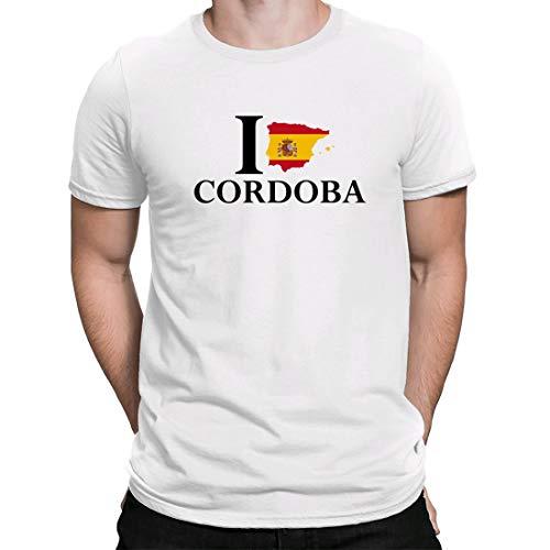 I Love Cordoba España, Camiseta para Hombre Manga Corta Hombre Camisetas Cuello Redondo Moda Camisetas, Blanco
