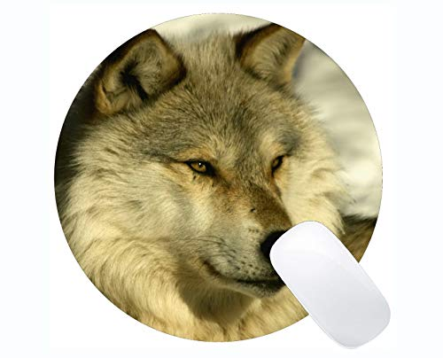 Yanteng Round Mouse Pad Non-Skid Natural Rubber Rectangle Round Mouse Pads,Animal Wolf Navy Mousepad Nonslip Rubber Backing