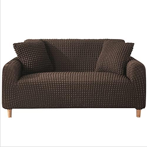 DANNEIL Fundas Sofa Elasticas, Tela De Poliéster Seersucker, para Sala De Estar, Fundas para Sofa Chaise Longue, Suave Y Cómoda, Lavable A Máquina (Deep Coffee,3 Seater 180-225cm)