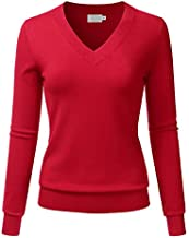 LALABEE Women's V-Neck Long Sleeve Soft Basic Pullover Knit Sweater RED L