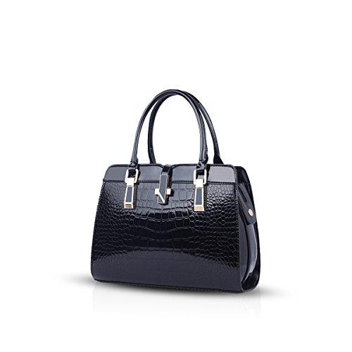 Nicole&Doris Damen Handtaschen neue Umhängetasche Lackleder Shell schultertasche Henkeltaschen Tasche für Frauen Schwarz