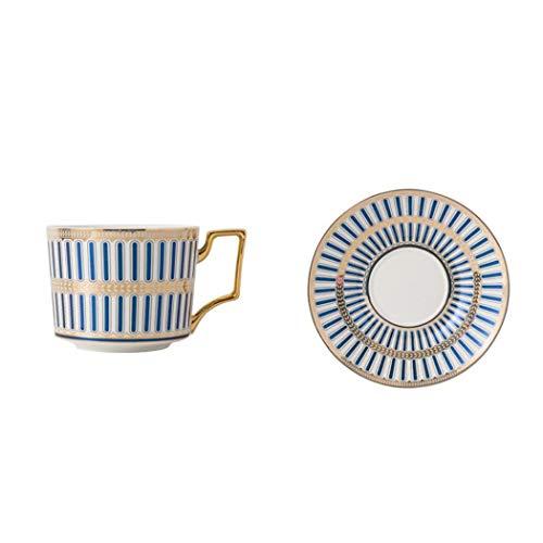 Juego de tazas de café de porcelana con patrones geométricos azules y blancos con platillo, tazas de café italianas, taza de café de 250 ml para capuchino, té de flores o leche (azul)