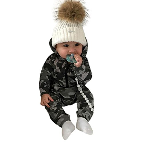 Baby Jungen Mädchen Camouflage Print Kapuzen-Overall Overall Kleidung Outfits (Camouflage, 12 Monat)