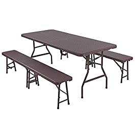 Femor Ensemble de 1 Table et 2 bancs Pliables, Panneau en Plastique HDPE, Imperméable, avec Cadre en Acier, Ensemble de…