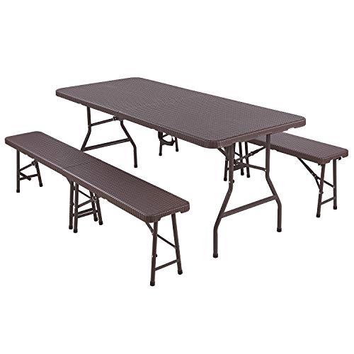 Femor Ensemble de 1 Table et 2 bancs Pliables, Panneau en Plastique HDPE, Imperméable, avec Cadre en Acier, Ensemble de Meubles de Jardin 180 cm pour Camping, Pique-Nique, Grillades, Buffets