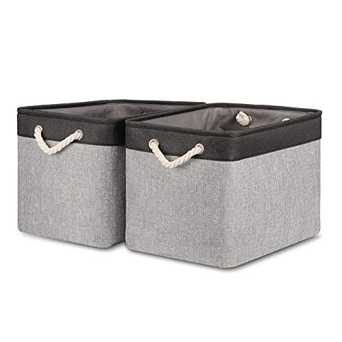 Bidtakay Fabric Storage Baskets with Handles [2-Pack] Large Canvas Organizer 16' X 11.8' X 11.8' Foldable Tall Baskets Rectangular Gift Basket Decorative Storage Bins for Closet, Home(Black&Grey)