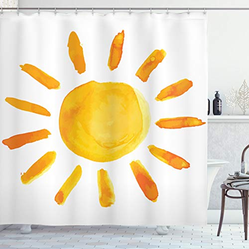 """Ambesonne Grunge Shower Curtain, Sun Illustration Watercolor Brush Painting Style Playroom Picture, Cloth Fabric Bathroom Decor Set with Hooks, 70"""" Long, Yellow White"""