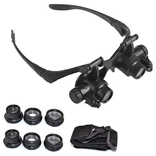 Lente di ingrandimento a LED a doppio occhio per occhiali da vista per gioielliere Riparazione di orologi Lenti 10X 15X 20X 25X