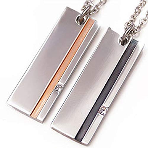 spe0296-pair [ブランド名:2PIECES] ペアネックレス ステンレス プレート シンプル ブラック ピンク チェーン BOX付きペアセット