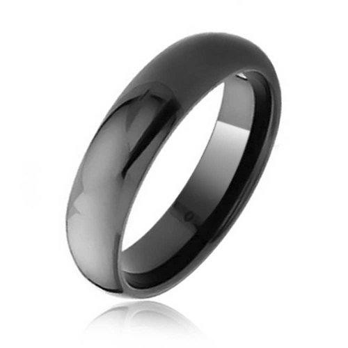 Bling Jewelry Domo Simple Banda Boda Parejas Negro Anillo De Tungsteno para Hombres Y para Mujer Comfort Fit 6Mm