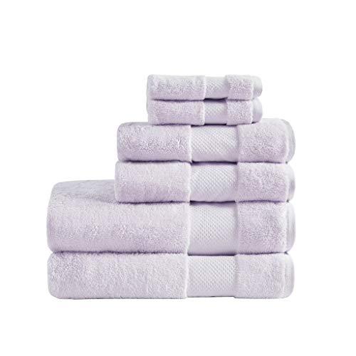 MADISON PARK SIGNATURE Cotton 6 Piece Bath Towel Set with Lavender MPS73-475