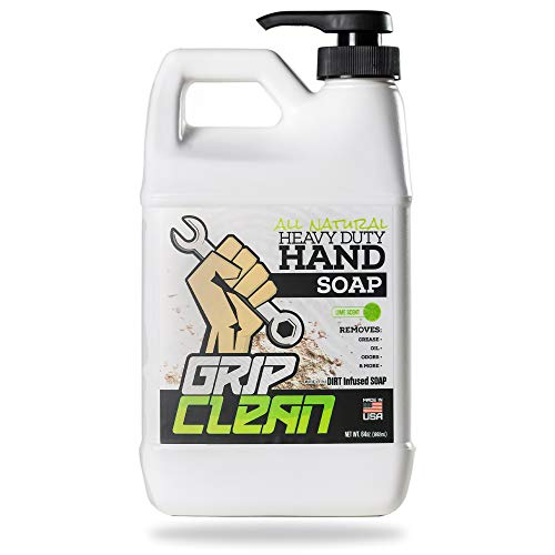 Grip Clean | Heavy Duty Hand Cleaner for Auto Mechanics & Industrial Work | Dirt-Infused Hand Soap Absorbs Grease/Oil, Stains, Odors & More. All Natural, Moisturizing & Lime Scented (500+ washes)