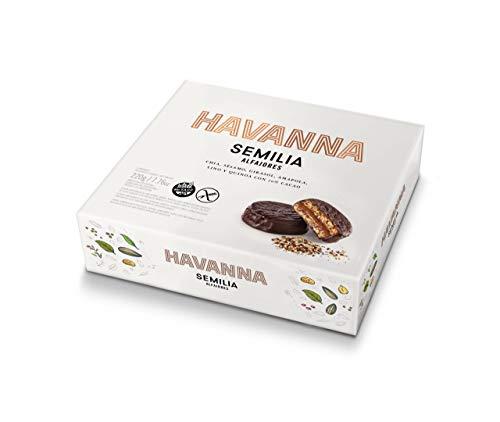 Havanna - Alfajores de Chocolate con Semillas - ( Chia - Sésamo - Girasol Amapola Lino y Quinoa) 70 % Cacao- Caja de 4 Unidades - 220 Gramos