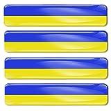 Biomar Labs® 4 x 3D Gel Pegatinas Adhesivos Emblema Bandera Nacional Ucrania Ukraine Flag Coche Auto Moto Bici Ordenador F 25