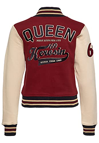Queen Kerosin Felpa da donna College   con ricamo   Regular Fit Qk More Revs Per Life rosso scuro XL