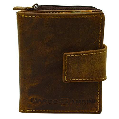 Kleine Handliche Herren/Damen Vintage echt Leder Geldbörse mit Riegelverschluss und RFID NFC Schutz