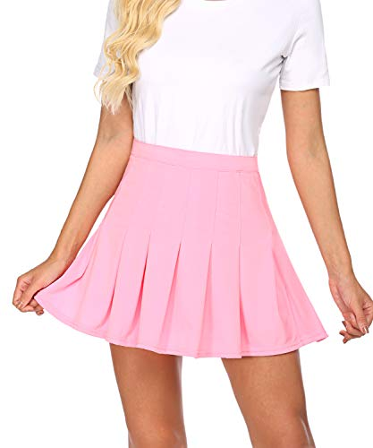 wearella Women's Athletic Skorts Lightweight Active Skirts with Side Zip Running Tennis Golf Workout Sports Skirts L Pink