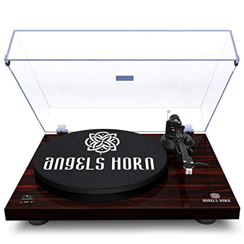 ANGELS HORN Vinyl Turntable Record Player, Built-in 2-Speed Phono Preamp and Belt Drive for Vinyl Records- AT-3600L (Mahogany Wood)