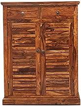 Roundhill Sheesham Wood Shoe Rack Storage with 2 Door and Drawers (Dark Brown)