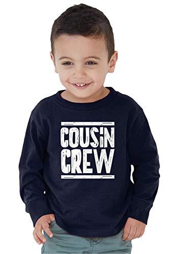 SpiritForged Apparel Cousin Crew Toddler Long Sleeve Shirt, Navy 4T