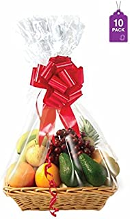 "Clear Basket Bags, 10 Pack Large Clear Cellophane Wrap for Baskets & Gifts 24""x30"" 1.5 Mil Thick (10)"