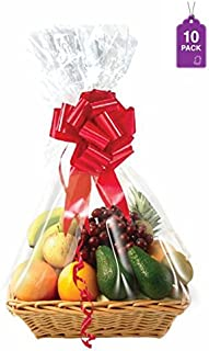 Clear Basket Bags, 10 Pack Large Clear Cellophane Wrap for Baskets & Gifts 24