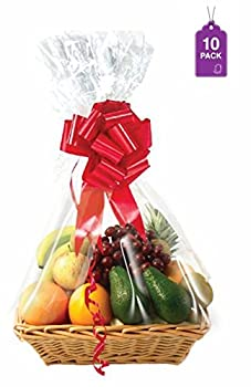 Clear Basket Bags 10 Pack Large Clear Cellophane Wrap for Baskets & Gifts 24 x30  1.5 Mil Thick  10