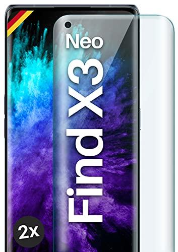 moex Full Screen Panzerglas kompatibel mit Oppo Find X3 Neo - Schutzfolie randlos, ganzer Display, Curved 3D Schutzglas Folie, Clear 2X Klar