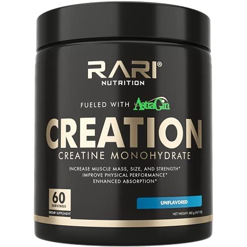 RARI Nutrition Creatine Monohydrate Powder | Unflavored, Superior Formula | 25mg Astragin & 5000mg Pure Micronized Creatine Per Serving