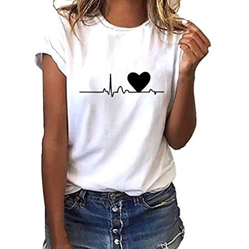 Camiseta de Mujer Manga Corta Corazón Impresión Blusa Camisa Cuello Redondo Basica Camiseta Suelto Verano Tops Casual Fiesta T-Shirt Original tee vpass (Blanco2, XL)
