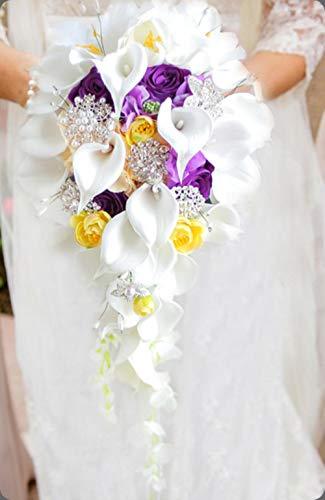 RANJN Calla Lily Hochzeitsstrauß Wasserfall Romantischer Designer Künstliche Hochzeitsblumen Brautstrauß, D