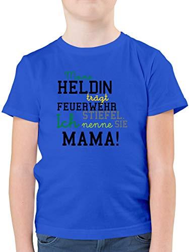 Feuerwehr Kind - Meine Heldin Mama Feuerwehrfrau - 116 (5/6 Jahre) - Royalblau - Feuerwehr Mama - F130K - Kinder Tshirts und T-Shirt für Jungen