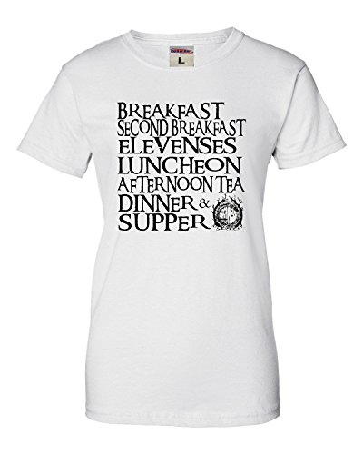 Go All Out X-Large White Womens The Seven Daily Hobbit Meals T-Shirt