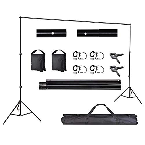 AW Backdrop Stand Kit 7 x 10ft Adjustable Background Support System Stand Kit 2 Spring & 4 Clips Carry Bag for Studio Photo Live Stream Party Event