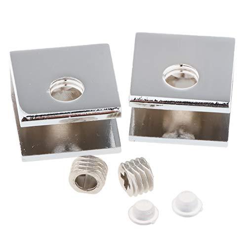 joyMerit 2er Pack Zinklegierung Feste Glasklammer Einstellbare Glashalterungen - A 8-10 mm