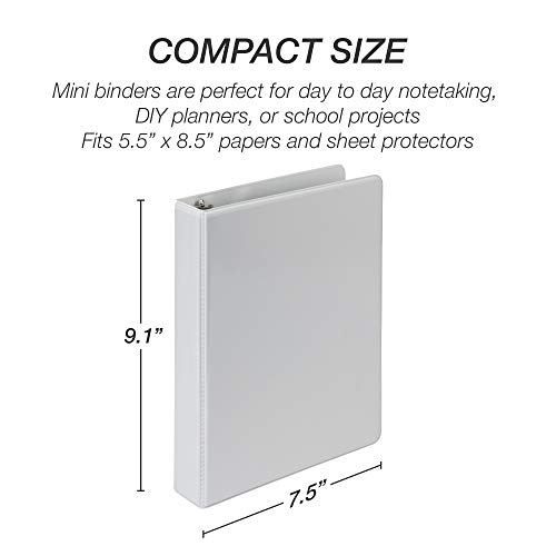 Samsill 3 Ring Mini View Binders, 1 Inch Round Ring, Customizable Clear View Cover, Junior Size 5.5 x 8.5 Inch, White, 6 Pack Photo #6