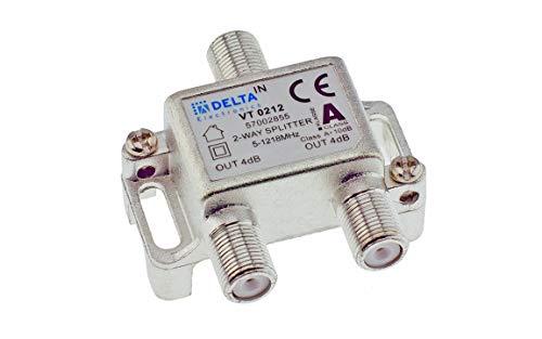 DCT-Delta, F-Verteiler 2-Fach 5-1218 MHz, TV-Verteiler, BK-Verteiler, DVB-C, Kabelfernsehen, Splitter, Class A + 10dB …