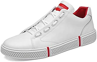 FYKHVF Men's Fashion Casual Flat Leather Shoes lace-up Perforated Breathable Sneakers