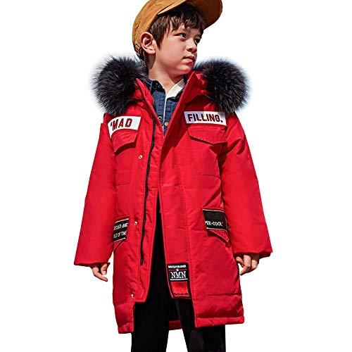 YFPICO Kinder Jungen Daunenjacke mit Echtfell Lang Warm Verdickte Winterjacke Wintermantel Daunenmantel Parka Outdoor, Rot, 152/158 (Etikettengröße:160)