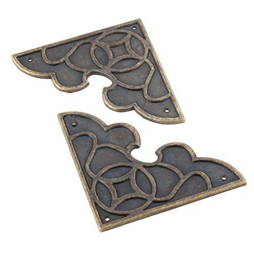Rechtwinklige Halterung aus Metall 2ST antike Bronzeschmuckkasten Corner Dekor Bein Fuss-Abdeckung Holzetui Möbel Metallecken-Schutz Möbeldekor 54mm