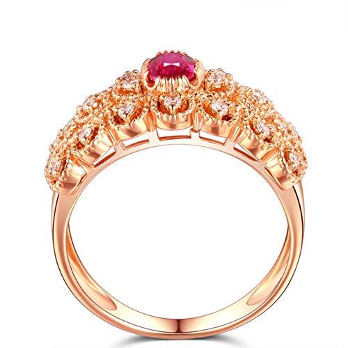 AueDsa Anillos Oro Rosa Anillo Oro Rosa Mujer 18 Kilates Oval Rubí Rojo Blanco 0.45ct Anillo Talla 8