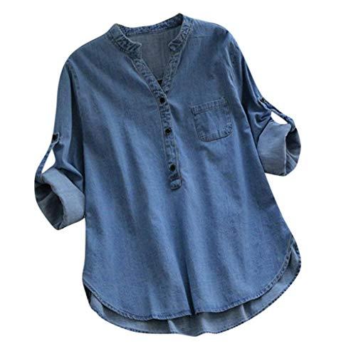 Gemira Denim Shirts for Women Long Sleeve Plus Size O Neck Lightweight Coats Button Up Sweatshirts Cowboy Shirt Blouse