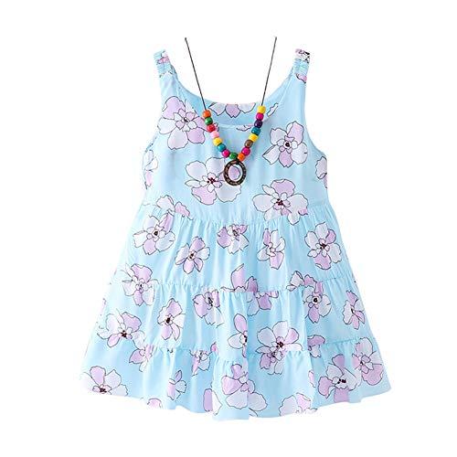 BAOBAOLAI Roupas para bebês meninas sem manga estampa floral com colar para concursos de crianças, vestido de verão azul